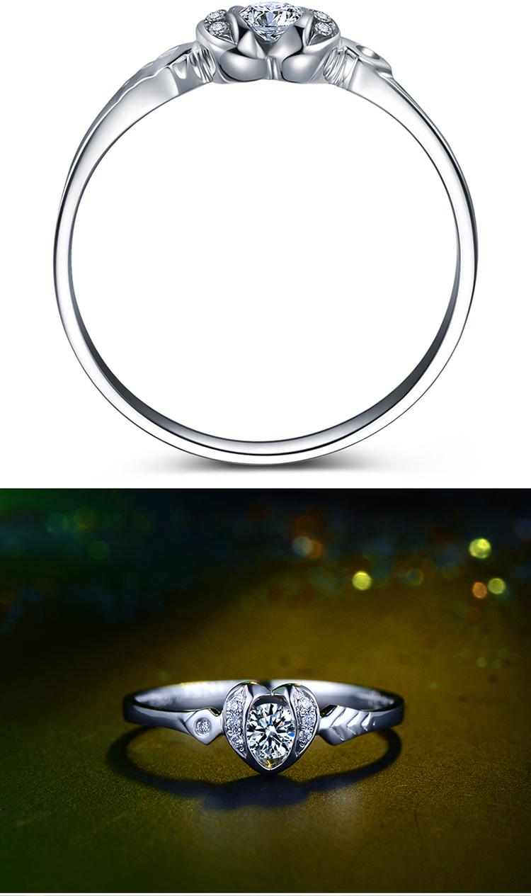 白18k金钻石女戒结婚钻戒戒指裸钻定制